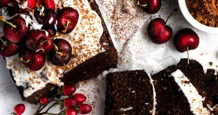Chocolate Cherry Coconut Loaf Cake