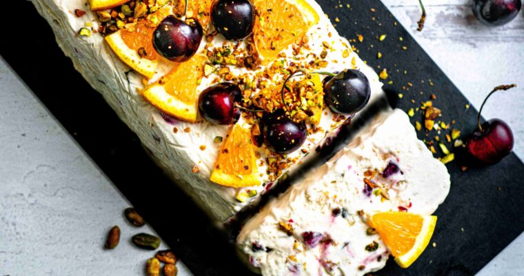 Orange Cherry Pistachio Semifreddo