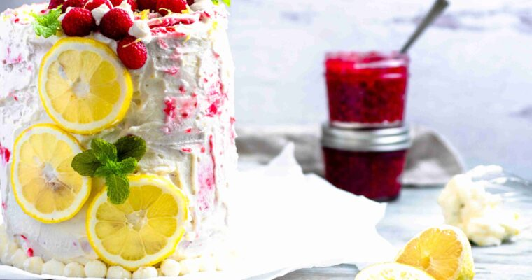 Lemon Raspberry Cake with Mascarpone Whipped Cream